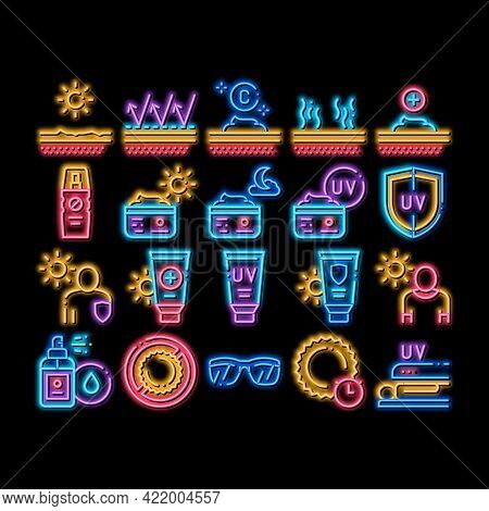 Sunscreen Elements Neon Light Sign Vector. Glowing Bright Icon Sun Lotion And Medical Cream, Protect