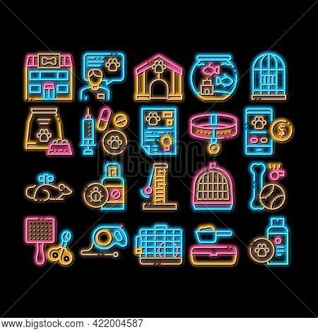 Pet Shop Elements Neon Light Sign Vector. Glowing Bright Icon Shop Building And Aquarium, Bowl And C