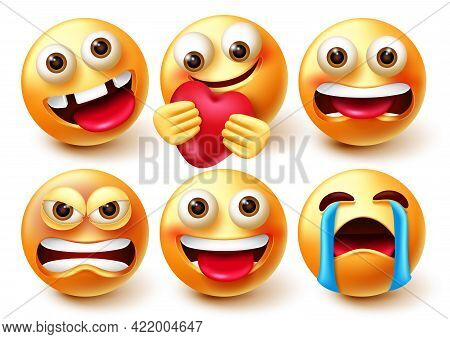 Emoji Vector Character Set. Emoticon 3d Characters Isolated In White Background With Crazy, Angry, C