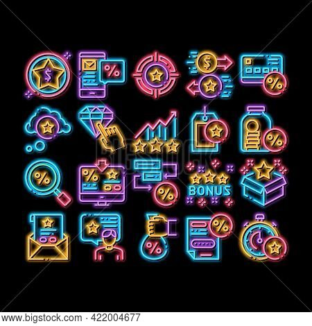 Bonus Hunting Elements Neon Light Sign Vector. Glowing Bright Icon Magnifier And Bag With Percent Ma