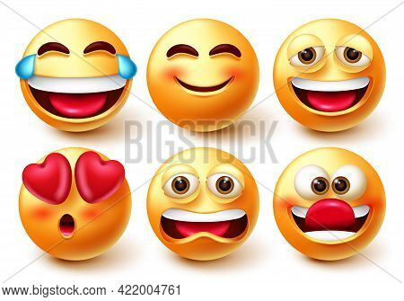 Emoji Characters Vector Set. Emoticon 3d Icon With Laughing, Smiling, Funny And Upset Mood Facial Ex
