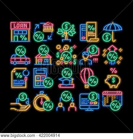 Payday Loan Elements Neon Light Sign Vector. Glowing Bright Icon Payday Money For Credit Of Car Or H