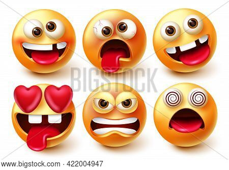 Emoticon Character Vector Set. Emoji 3d Characters With Expressions And Emotions Like In Love, Crazy