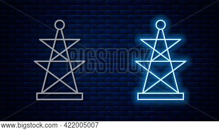 Glowing Neon Line Electric Tower Used To Support An Overhead Power Line Icon Isolated On Brick Wall