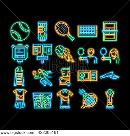 Tennis Game Equipment Neon Light Sign Vector. Glowing Bright Icon Racket And Tennis Field, Cup And T
