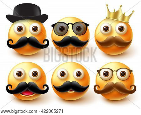 Emoticon Male Character Vector Set. Emoji 3d Characters Wearing Elements Like Mustache, Crown And Ha