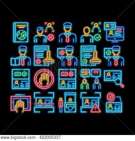 Passport Control Check Neon Light Sign Vector. Glowing Bright Icon Scanning Passport And Stamp, Poli