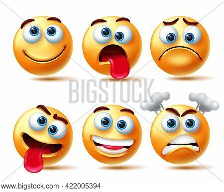 Emoji Vector Character Set. Emoticon 3d Emojis With Expressions Like Crazy, Happy And Angry Isolated