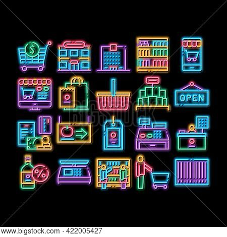 Grocery Shop Shopping Neon Light Sign Vector. Glowing Bright Icon Internet Grocery Shop Or In Super