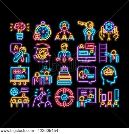 Mentor Relationship Neon Light Sign Vector. Glowing Bright Icon Human Holding Key And Gear, Stopwatc
