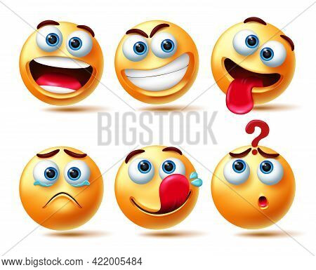 Emoticon Vector Set. 3d Emoticons Characters In Happy, Smirk, Teary Eyed And Confuse Expression For