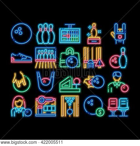 Bowling Game Tools Neon Light Sign Vector. Glowing Bright Icon Bowling Ball And Skittle, Building An