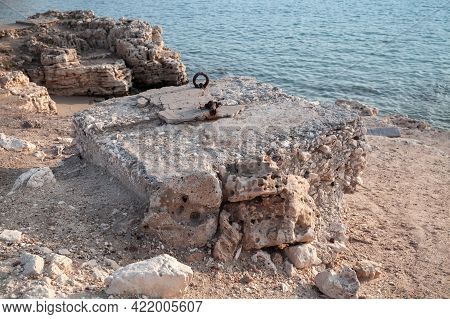 Montazah Beach, Alexandria, Egypt. Coastal Landscape With Old Ruined Stone Fortifications