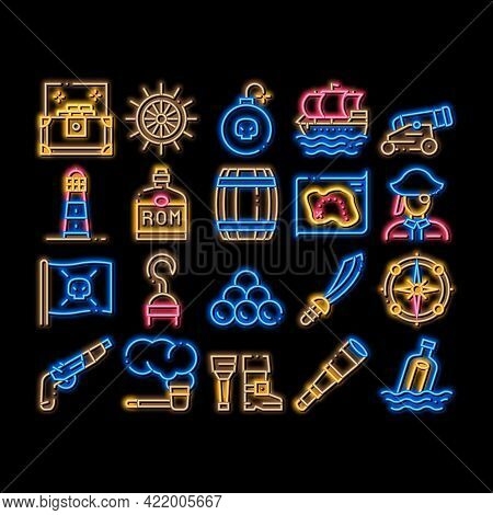 Pirate Sea Bandit Tool Neon Light Sign Vector. Glowing Bright Icon Pirate Saber And Spyglass, Steeri