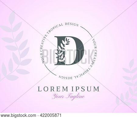 Feminine Letter D Logo With Nature Leaves Texture Design Logo Icon. Creative Beauty Alphabetical Bea