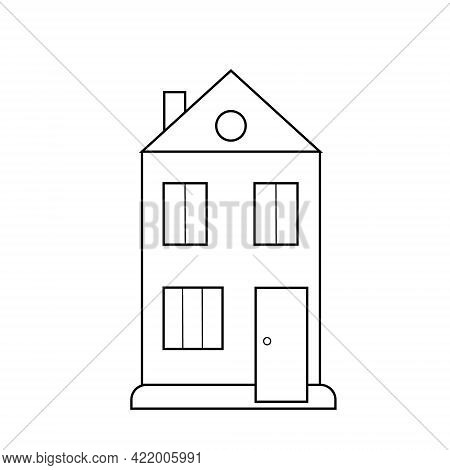 Simple Outline Black And White House Icon Vector Illustration, Residential Building Icon, Sweet Cozy