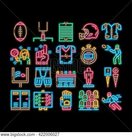 Rugby Sport Game Tool Neon Light Sign Vector. Glowing Bright Icon Rugby Ball And Gates, Athlete Prot