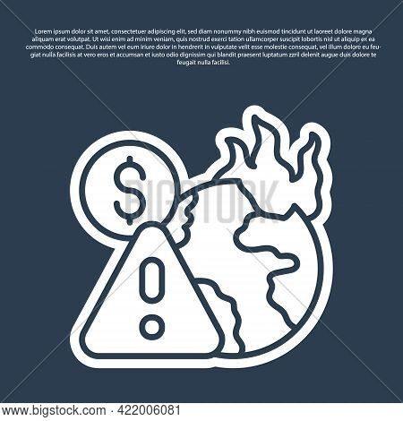Blue Line Global Economic Crisis Icon Isolated On Blue Background. World Finance Crisis. Vector