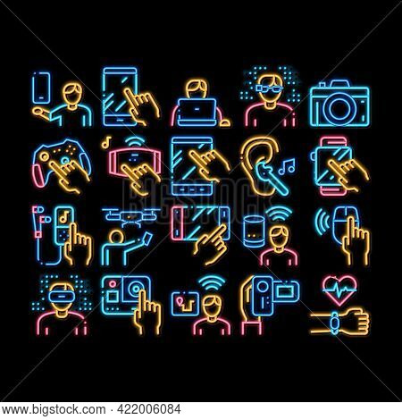Gadget And Device Neon Light Sign Vector. Glowing Bright Icon Smartphone And Tablet, Photo And Video