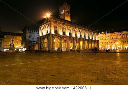 Piazza Maggiore In Bologna At Night