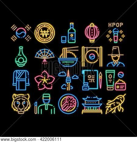Korea Traditional Neon Light Sign Vector. Glowing Bright Icon Korea Flag And Wearing, Food And Drink