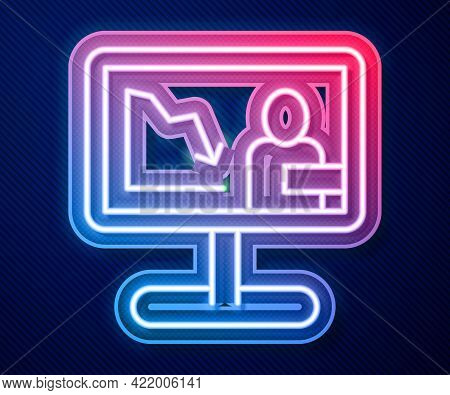 Glowing Neon Line Global Economic Crisis News Icon Isolated On Blue Background. World Finance Crisis