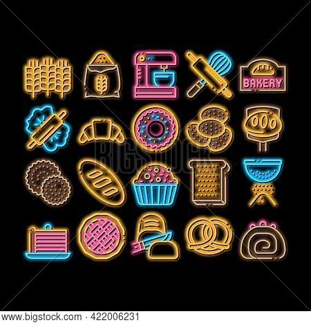 Bakery Tasty Food Neon Light Sign Vector. Glowing Bright Icon Bakery Cake And Bread, Pie And Donut,