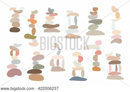 Zen Stones Set Simple Abstract Vector Illustration In Flat Style, Relax, Meditation And Yoga Concept