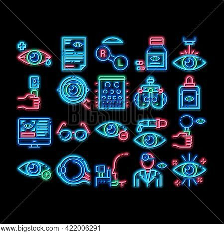 Optometry Medical Aid Neon Light Sign Vector. Glowing Bright Icon Optometry Doctor Equipment And Pil