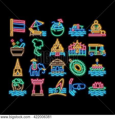 Thailand National Neon Light Sign Vector. Glowing Bright Icon Thailand On Geography Map And Flag, Bu