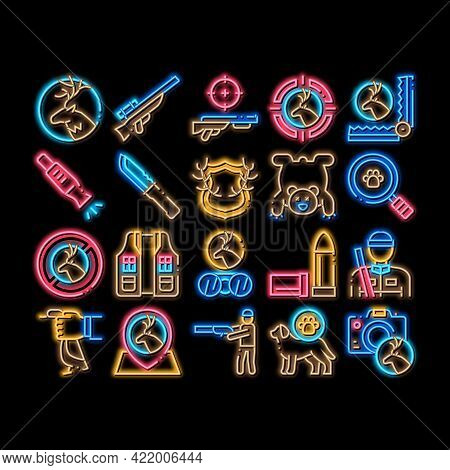 Hunting Equipment Neon Light Sign Vector. Glowing Bright Icon Hunting Gun And Knife, Bullet And Trap