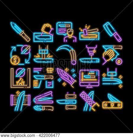 Knife Making Utensil Neon Light Sign Vector. Glowing Bright Icon Sharpening And Machine Knife Making