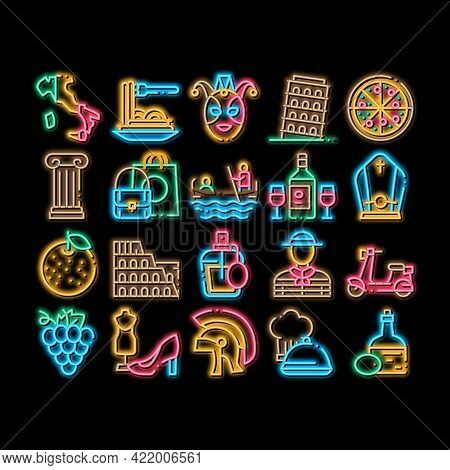 Italian Traditional Neon Light Sign Vector. Glowing Bright Icon Italian Pizza And Wine, Meal And Gra