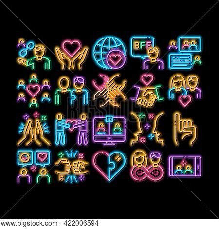 Friendship Relation Neon Light Sign Vector. Glowing Bright Icon Handshake And Friendship Gesture, Lo