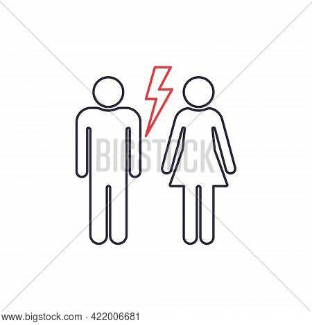 Divorced Couple. Black Line Icon Of Man And Woman With Red Lightning. Break Up Of Relationship Icon.