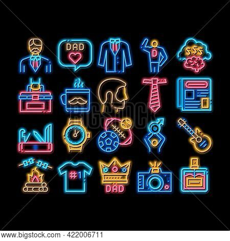 Dad Father Parent Neon Light Sign Vector. Glowing Bright Icon Dad With Beard And Office Working Plac