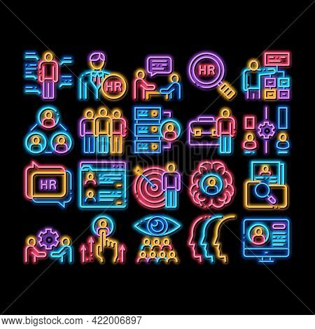 Hr Human Resources Neon Light Sign Vector. Glowing Bright Icon Hr Management And Research, Strategy
