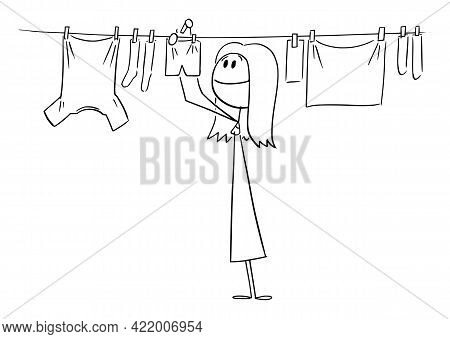 Person Or Woman Hanging Clean Clothes On Line Using Pegs , Vector Cartoon Stick Figure Illustration