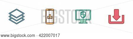 Set Layers, Smartphone With Download, Monitor And Shield And Download Icon. Vector