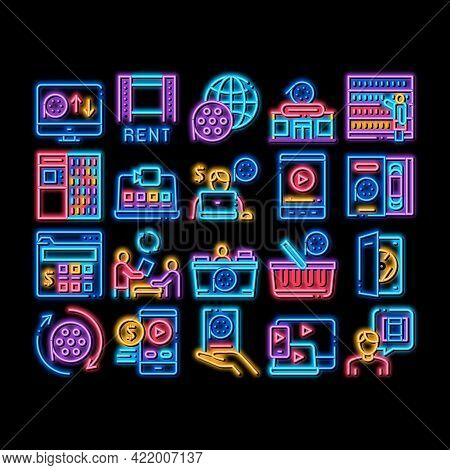 Renting Movies Service Neon Light Sign Vector. Glowing Bright Icon Renting Movies Store, Internet On