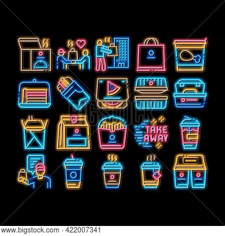 Take Away Food And Drink Delivery Neon Light Sign Vector. Glowing Bright Icon Cooked Pizza And Chick