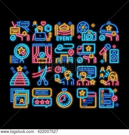 Event Party Planning Neon Light Sign Vector. Glowing Bright Icon Planning Travel And Delivery, Conce