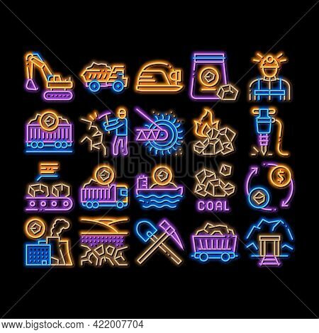 Coal Mining Equipment Neon Light Sign Vector. Glowing Bright Icon Coal Truck Delivery And Conveyer,