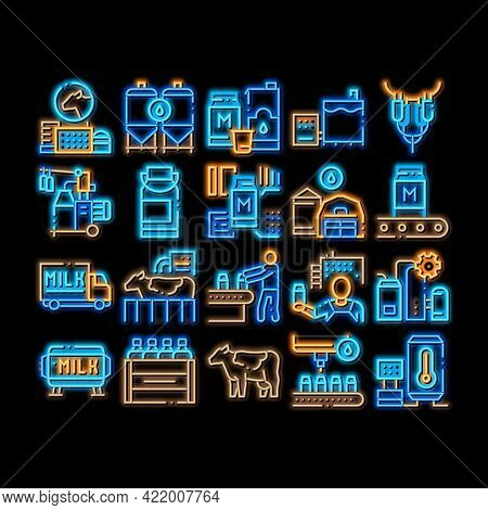 Milk Factory Product Neon Light Sign Vector. Glowing Bright Icon Cow And Milk In Can, Conveyor And P