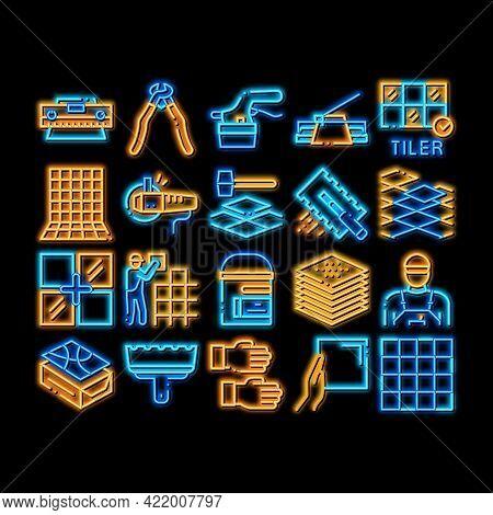 Tiler Work Equipment Neon Light Sign Vector. Glowing Bright Icon Tiler Rectangular Notched Trowel An