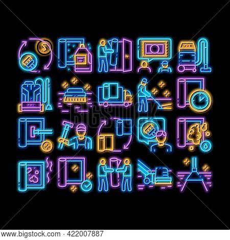 Carpet Cleaning Washing Service Neon Light Sign Vector. Glowing Bright Icon Dusty And Dirty Carpet A