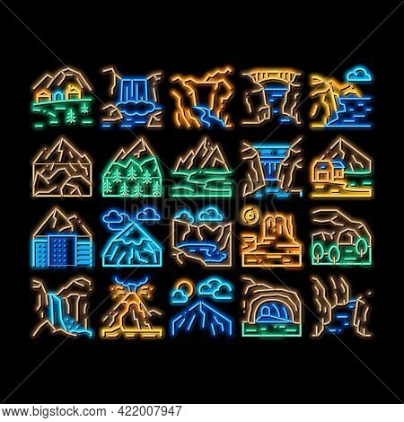 Mountain Landscape Neon Light Sign Vector. Glowing Bright Icon Forest And Camping On Mountain, Volca