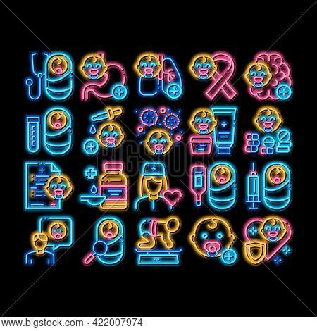 Pediatrics Medical Neon Light Sign Vector. Glowing Bright Icon Child And Pediactrics Nurse, Baby On