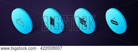 Set Isometric Hanging Sign With Open Door, Remove Shopping Basket, Smartphone, Mobile Phone And Sign