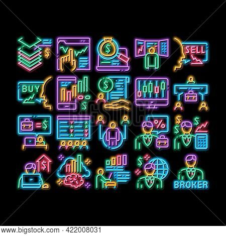 Broker Advice Business Neon Light Sign Vector. Glowing Bright Icon Broker Businessman And Consultant